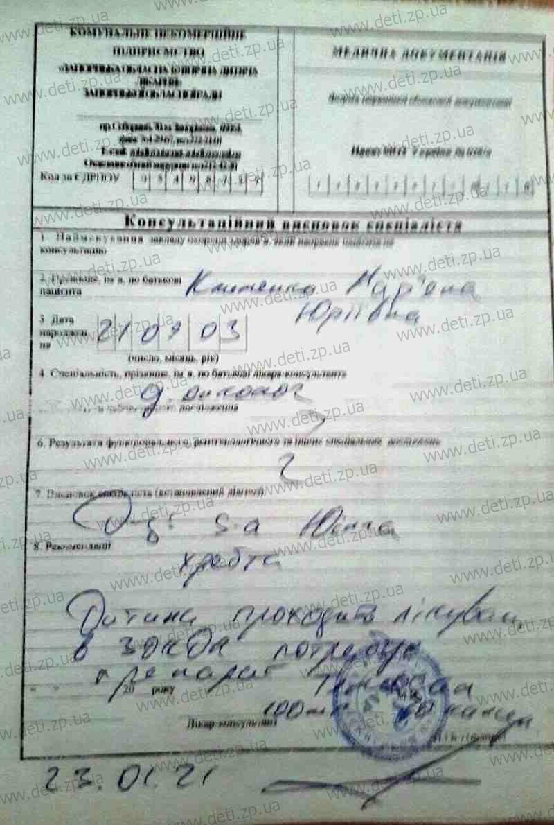 Заключение Марьяна Клименко