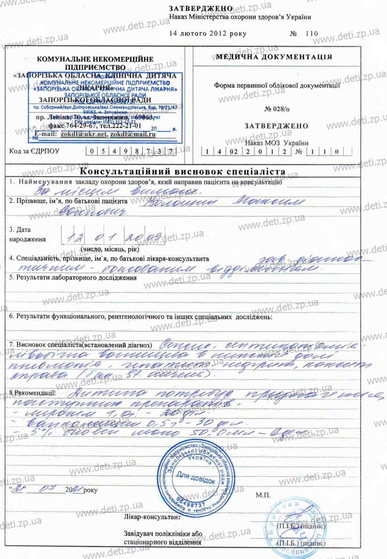 Консультативное заключение Максим Волошин